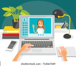 Illustration with desk and laptop