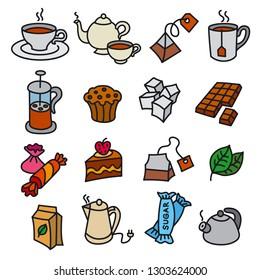 illustration of dessert and tea icons