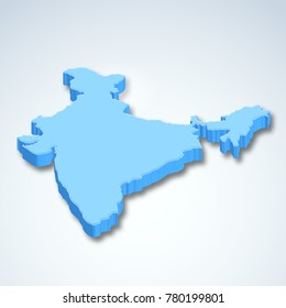 illustration of Detailed 3d map of India, Asia