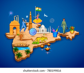 illustration of Detailed 3d map of India showing different monument and famous places