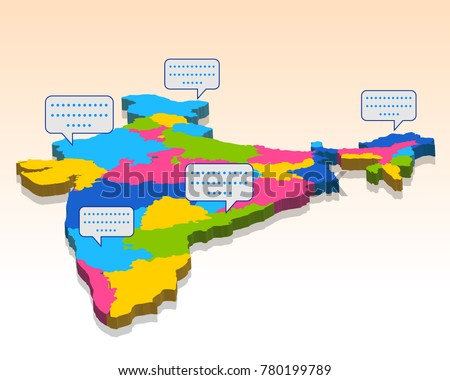 Illustration Detailed 3 D Map India Asia Stock Vector (Royalty Free ...