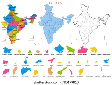 India State Map Images, Stock Photos & Vectors | Shutterstock