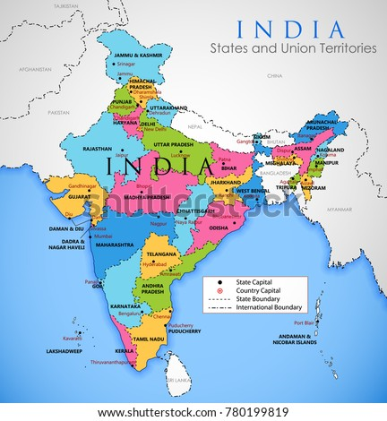 Illustration Detailed Map India Asia All Stock Vector Royalty Free