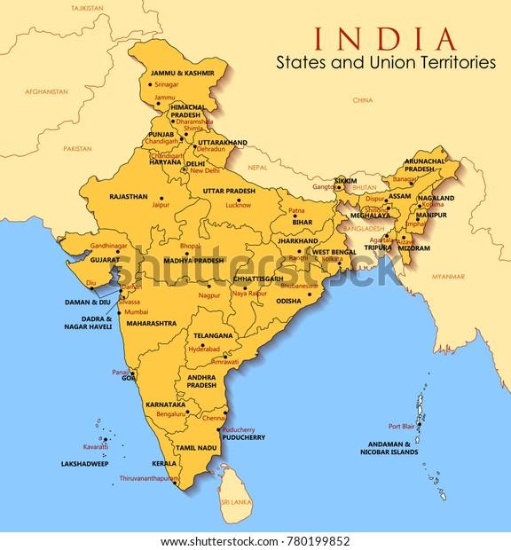 Illustration Af Detaljeret Kort Over Indien Lagervektor