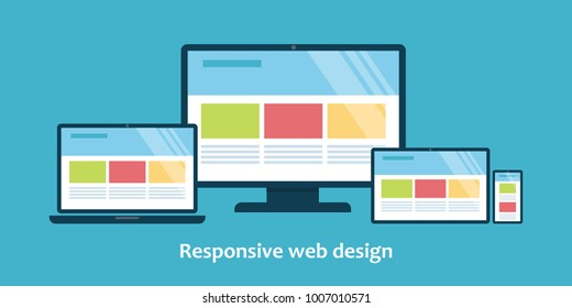 Illustration of devices with different view one web page. For demonstration responsive web design