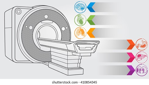 Illustration of diagnostic machine with simple design elements, clean line art for web and print design appealing for medical theme.