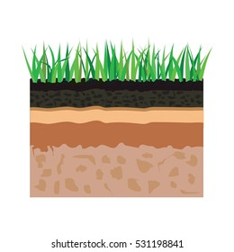 illustration of diagram for layer of soil, nature landscape with soil tile and grass elements