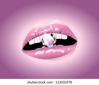 Illustration of diamond between pink lips