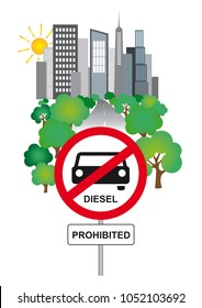 Illustration of a Diesel driving ban road sign - City in the background - on white background