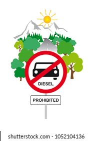 Illustration of a Diesel driving ban road sign - Nature in the background - on white background