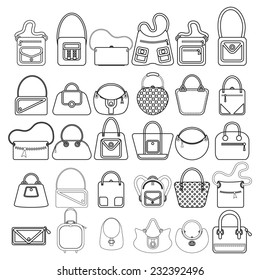 Illustration of the different bag designs on a white background