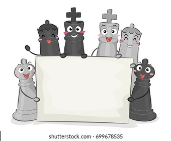 Illustration of Different Chess Pieces like Pawn, Queen and King Holding a Blank Banner