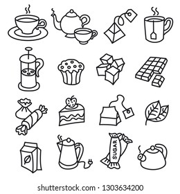 illustration of different dessert and tea icons