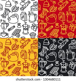 illustration of different dessert and tea seamless patterns, includes 4 patterns in swatches
