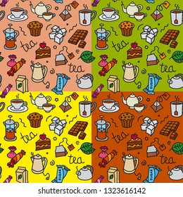 illustration of different desserts and tea seamless pattern