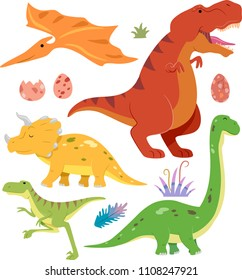 Illustration of Different Dinosaurs from Tyrannosaurus Rex, Brontosaurus, Pterodactyl, Triceratops and Deinonychus with Eggs and Plants