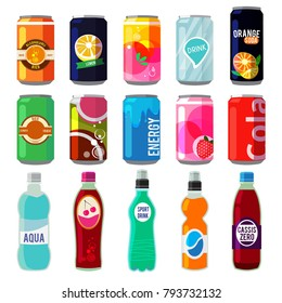 Illustration of different drinks in metallic cans and bottles. Vector pictures in retro style. Bottle aluminum with fresh energy beverage