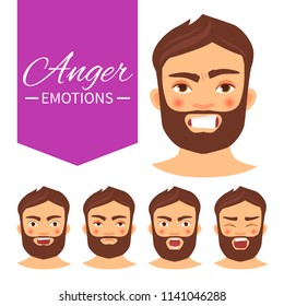 Illustration with different emotions. A man with a beard. A cartoon character. Anger.