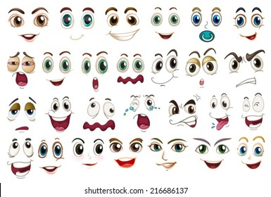 Illustration of different facial expressions