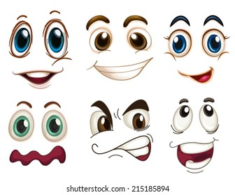 Illustration of the different facial expressions on a white background