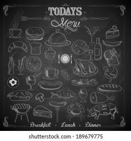 illustration of different food item in menu chalk board