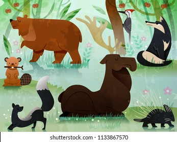 Illustration of Different Forest Animals from Brown Bear, Moose, Woodpecker, Wolf, Skunk, Beaver and Porcupine eps10