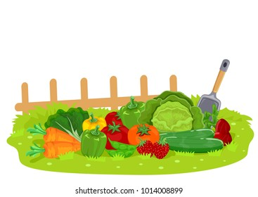 Illustration of Different Fruits and Vegetables in the Garden with Shovel and Fence