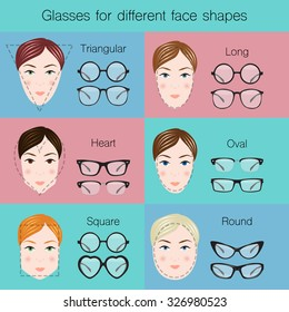 Illustration of different glasses for different dace shapes. Vector illustration