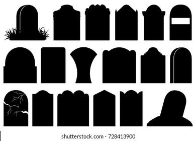 Illustration of different Halloween gravestones isolated on white