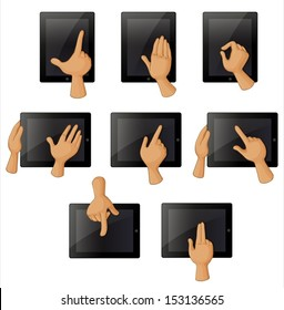 Illustration of the different hand gestures when using a gadget on a white background