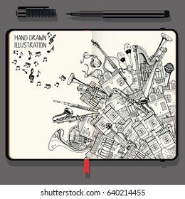 Illustration With Different Houses and Music Instruments. Music Festival in the City. Vector Notebook with Fine Liner Pen and Hand Drawn Doodles.