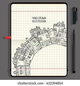 Illustration With Different Houses. Nice and Comfortable Neighborhood. Vector Notebooks with Fine Liner Pen and Hand Drawn Doodles.