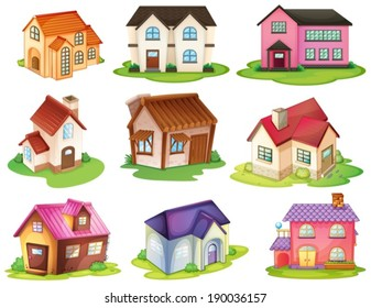 Illustration of the different houses on a white background