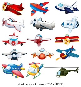 illustration of different kind of planes