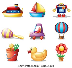 Illustration of the different kinds of toys on a white background