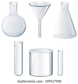 Illustration of the different laboratory equipments on a white background