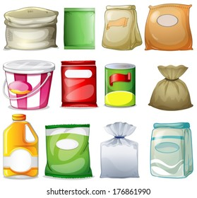 Illustration of the different packs and containers on a white background