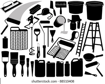 Illustration of different painting objects