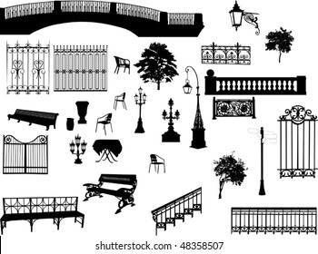 illustration with different park elements