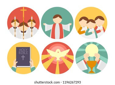 Illustration of Different Parts of Mass Icons from the Gathering, Proclaiming the Word, Prayers, Peace and Eucharist