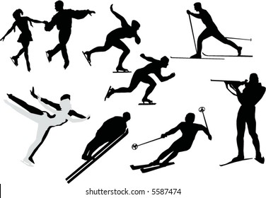 illustration with different people silhouette play winter games