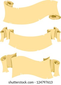 Illustration of Different Plain Old Scroll Banners