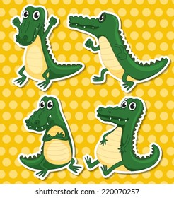 Illustration of different poses of a crocodile