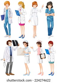 Illustration of different poses of doctors and nurses