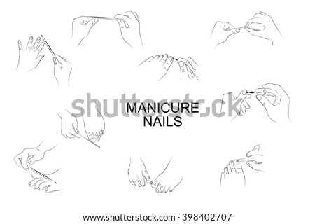illustration different positions hands feet during stock vector