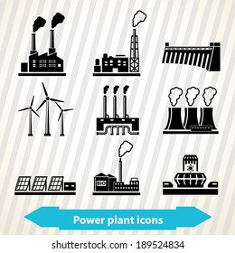 Illustration with different power plant icons in minimal style