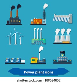 Illustration with different power plant icons in flat style
