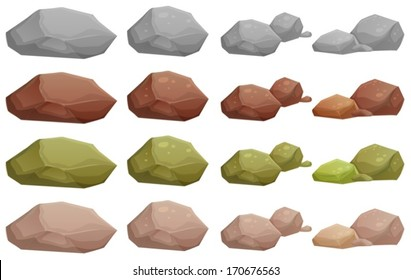 Illustration of the different rocks on a white background