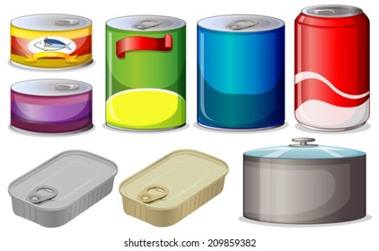 Illustration of  different type of cans