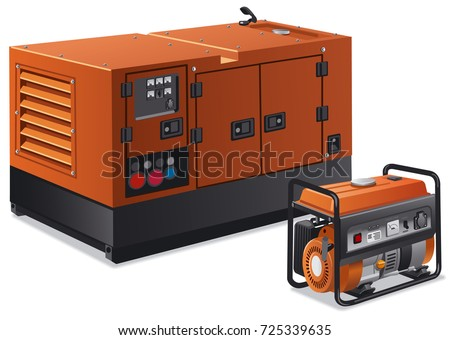 illustration of different type of industrial and home power generators